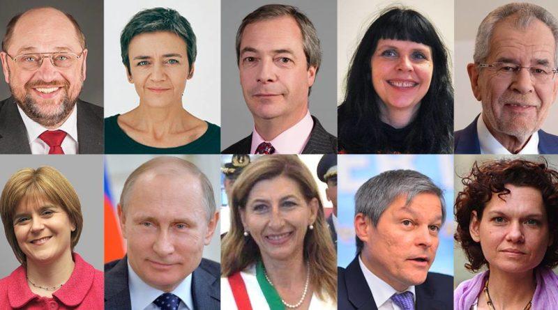 personnalités, Dacian Cioloș, Asli Erdogan, Nigel Farage, Birgitta Jonsdottir, Guisi Nicolini, Vladimir Poutine, Martin Schulz, Nicola Sturgeon, Alexander Van der Bellen, Margarethe Vestager